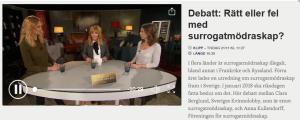 Debatt om surrogatmödraskap i TV4