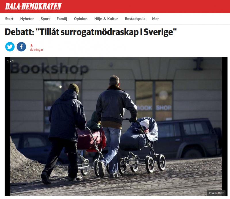 DALA-DEMOKRATEN Debatt - Tillåt surrogatmödraskap i Sverige - Nordic Surrogacy