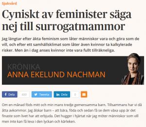 Dagens Samhälle - Cyniskt av feminister säga nej till surrogatmammor - Nordic Surrogacy