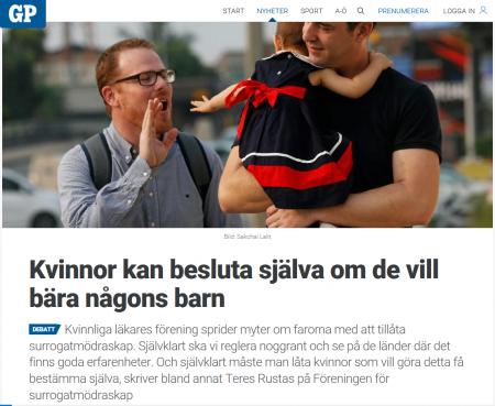 GP - Kvinnor kan besluta själva om de vill bära någons barn - Nordic Surrogacy