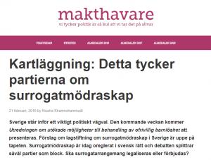 Makthavare.se - Kartläggning - Detta tycker partierna om surrogatmödraskap - Nordic Surrogacy