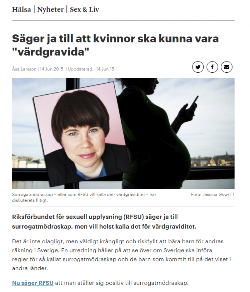 Metro.se - RFSU säger ja till att kvinnor ska kunna vara värdgravida - Nordic Surrogacy