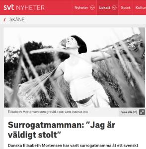 """SVT.se - Surrogatmamman säger """"Jag är väldigt stolt"""" - Nordic Surrogacy"""