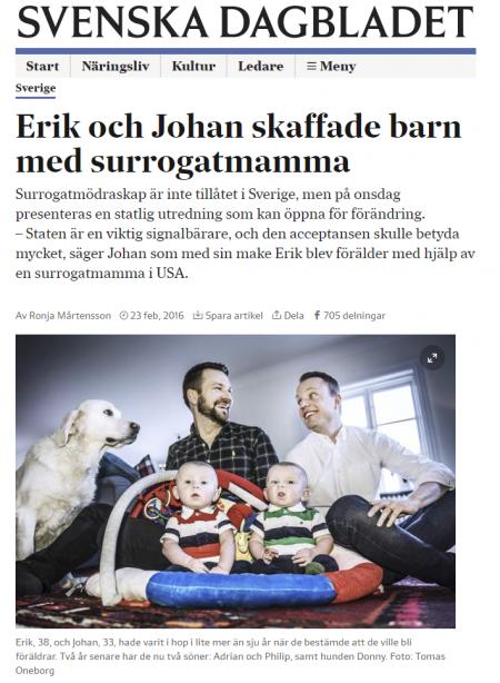SvD - Erik och Johan skaffade barn med surrogatmamma - Nordic Surrogacy