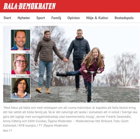 Dala-Demokraten Debatt - Öppna Moderater - Tillåt surrogatmödraskap - Nordic Surrogacy