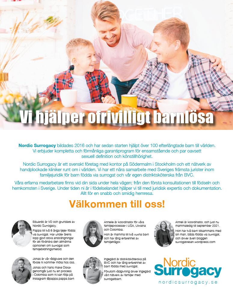 Annons - Vi hjälper ofrivilligt barnlösa - Nordic Surrogacy